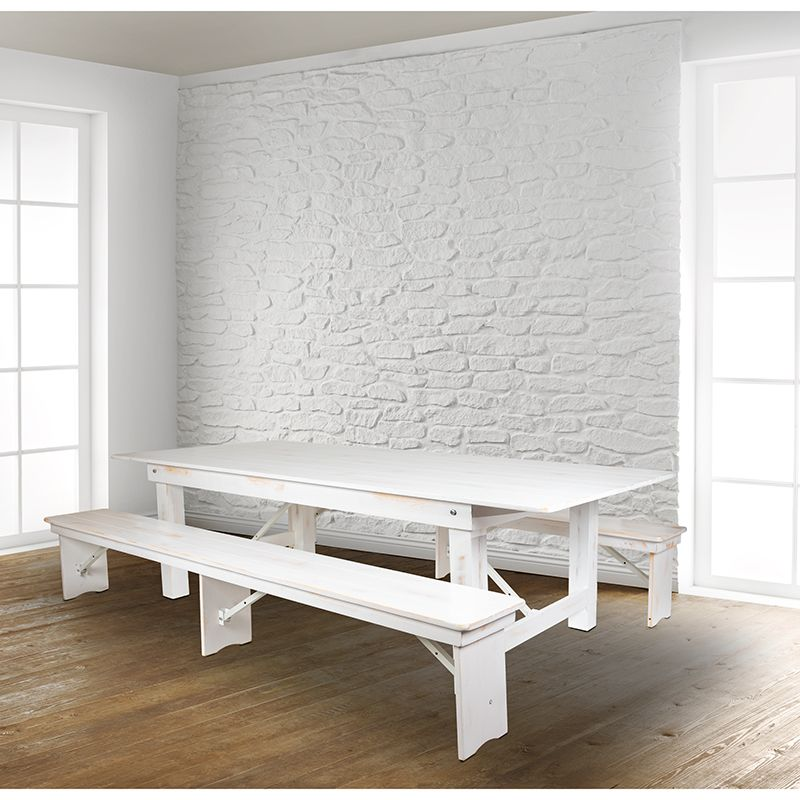 Hercules Series 8 X 40 Antique Rustic White Folding Farm Table Two Bench Set Flash Furniture Xa Farm 4 Wh Gg