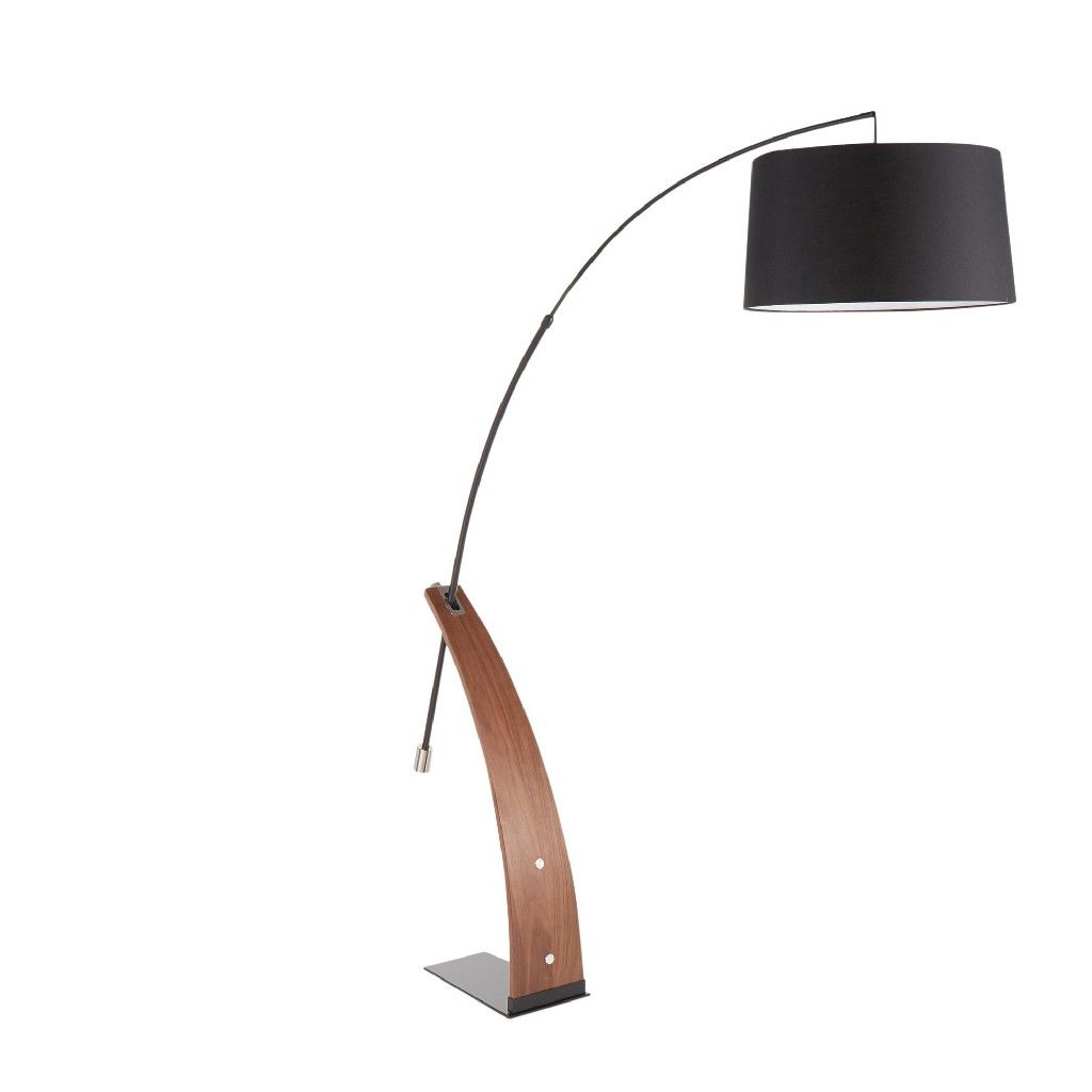 Robyn Mid Century Modern Floor Lamp In Walnut Wood Black Shade Lumisource L Robynfl Wlbk