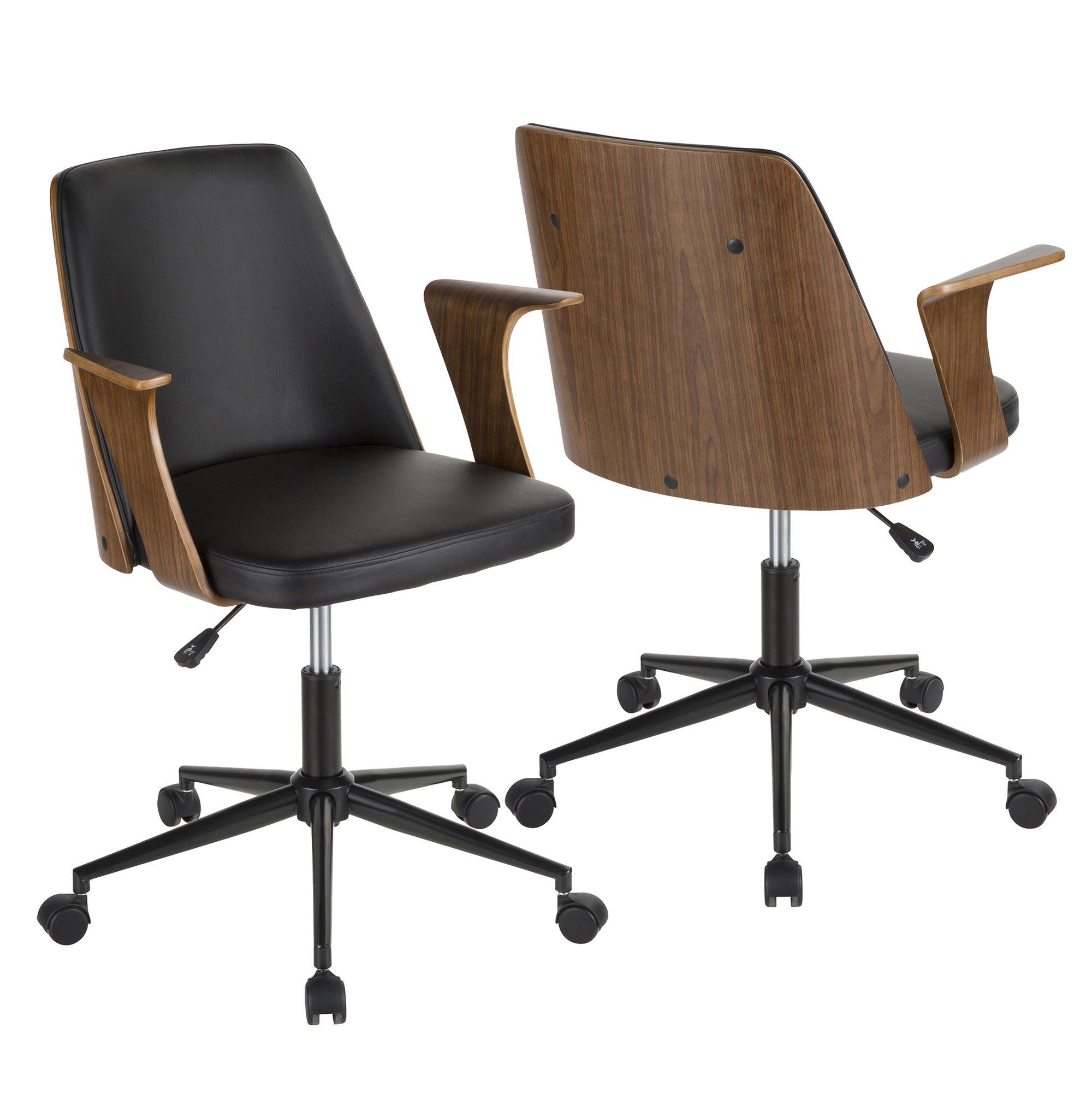 Verdana Mid Century Modern Office Chair In Walnut Wood Black Faux Leather Lumisource Oc Vrdna Wl Bk