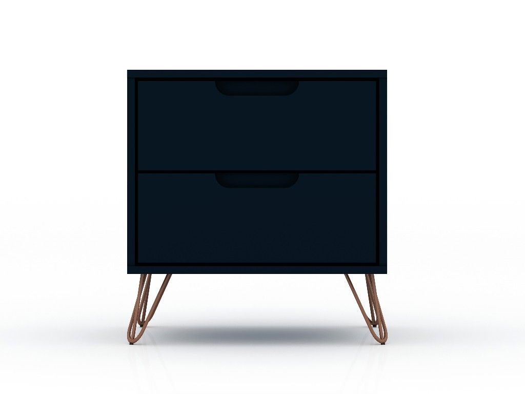 Rockefeller 2 0 Mid Century Modern Nightstand With 2 Drawer In Tatiana Midnight Blue Manhattan Comfort 102gmc4