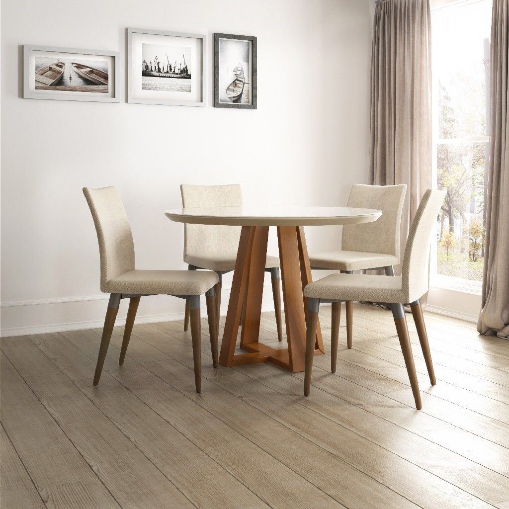Duffy 45 27 Modern Round Dining Table And Charles Dining Chairs In Off White And Dark Beige Set Of 5 Manhattan Comfort 2 10185511011452