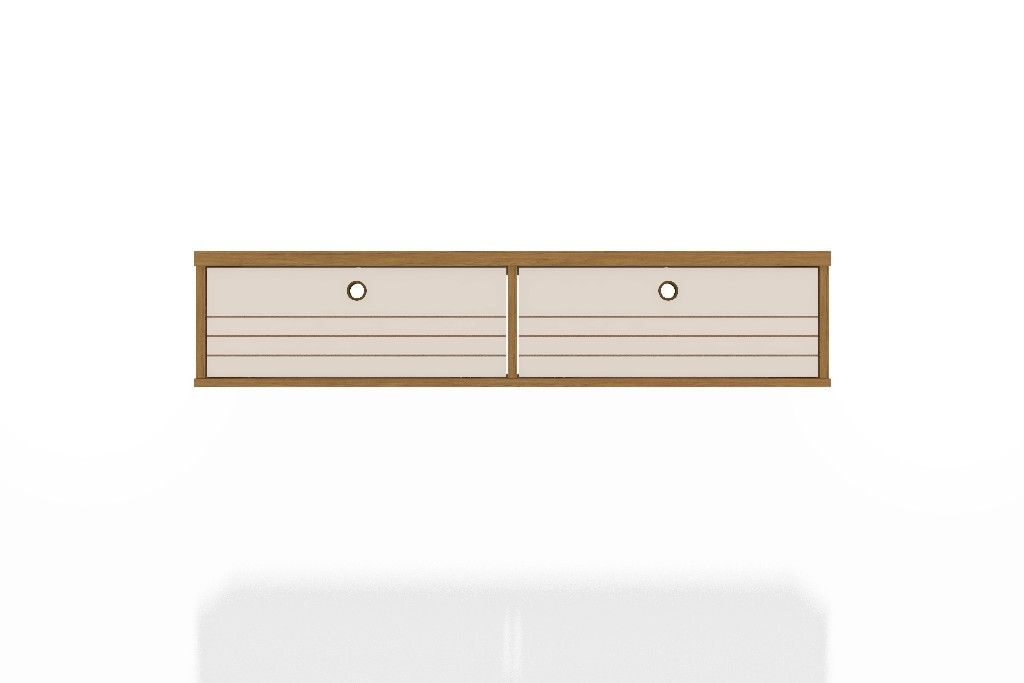 liberty 42 28 mid century modern floating office desk with 2 shelves in cinnamon and off white manhattan fort 225bmc21