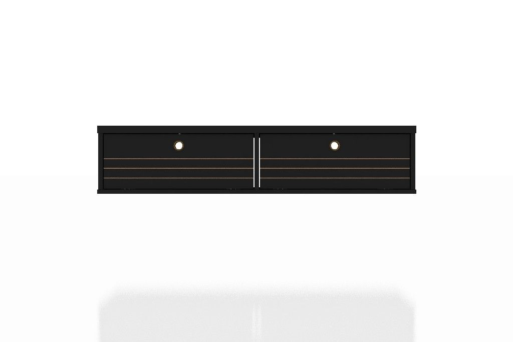 Image of: Liberty 42 28 Mid Century Modern Floating Office Desk With 2 Shelves In Black Manhattan Comfort 225bmc8