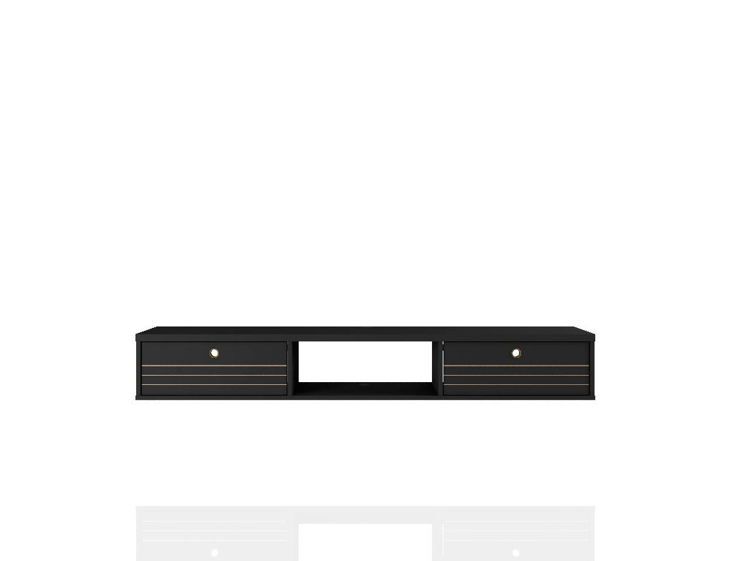 liberty 62 99 mid century modern floating office desk with 3 shelves in black manhattan fort 226bmc8