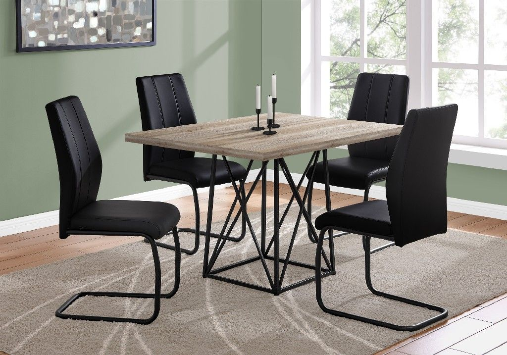 Dining Table 36 X 48 In Taupe Reclaimed Wood Look Black Monarch Specialties I 1109