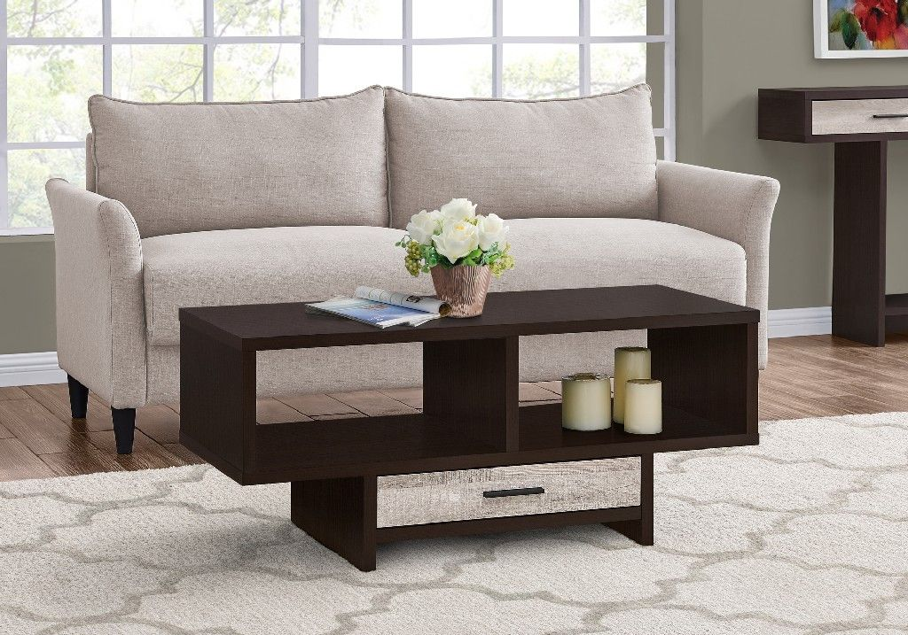 Coffee Table Cappuccino Taupe Reclaimed Wood Look Monarch Specialties I 2811