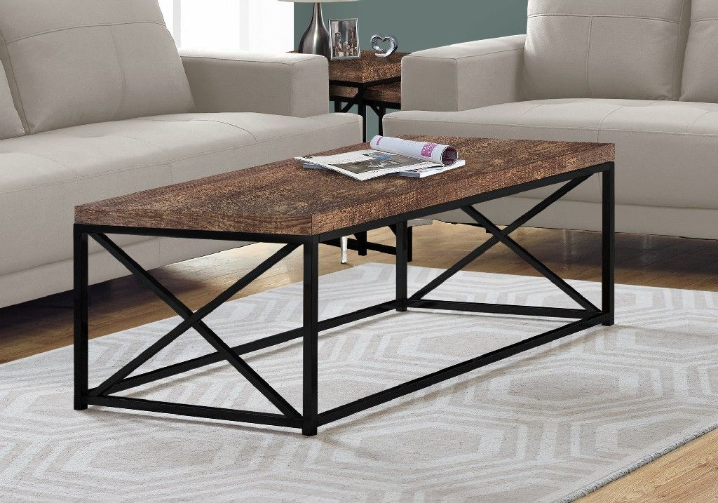 Coffee Table Brown Reclaimed Wood Look Black Metal Monarch Specialties I 3416