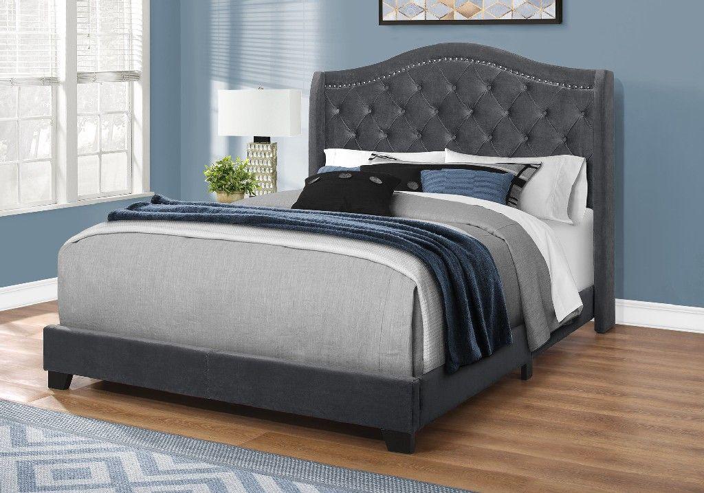 Bed Queen Size Dark Grey Velvet With Chrome Trim Monarch Specialties I 5968q