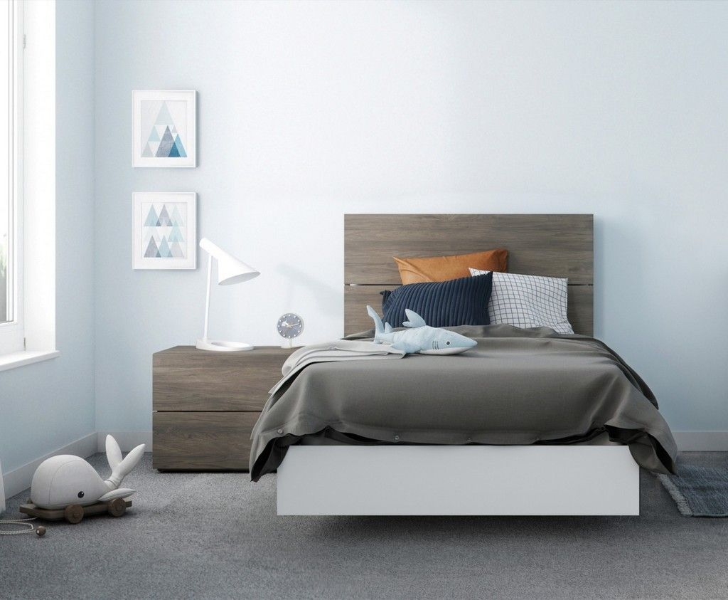 Pure 3 Piece Twin Size Bedroom Set In Bark Grey And White Nexera 402439