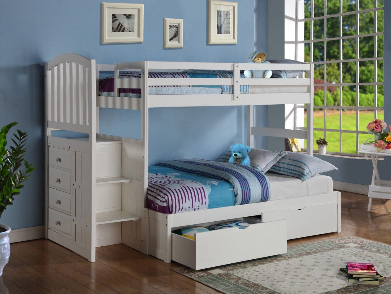 Twin Over Full Stairway Bunkbed In White Donco 840 Ttw 800e W