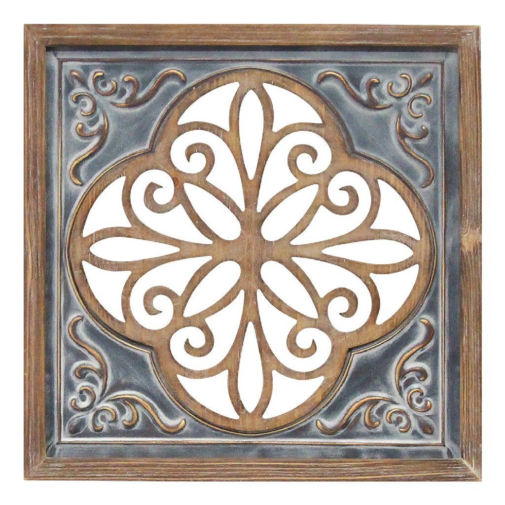 Wood Metal Blue Square Wall Decor Stratton Home Decor S23780