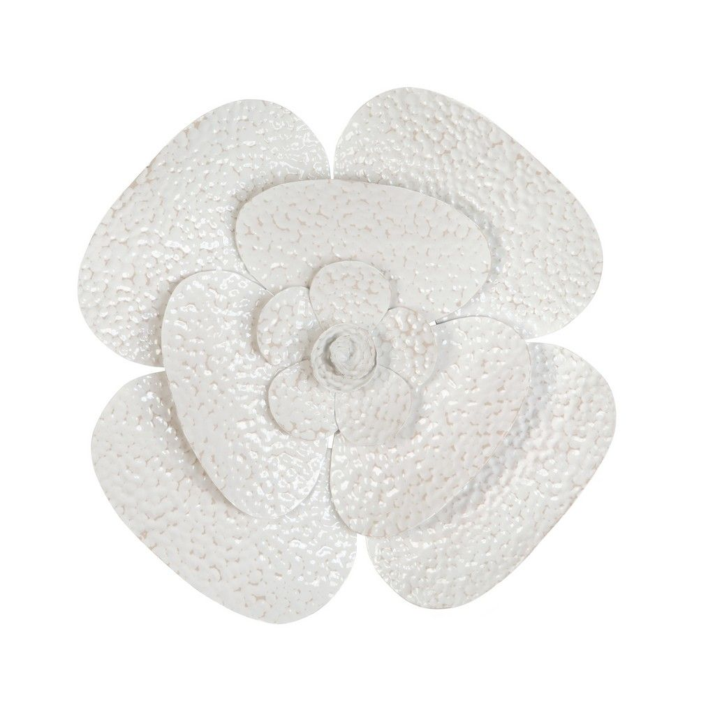 Blooming White Flower Metal Wall Art Stratton Home Decor S33472