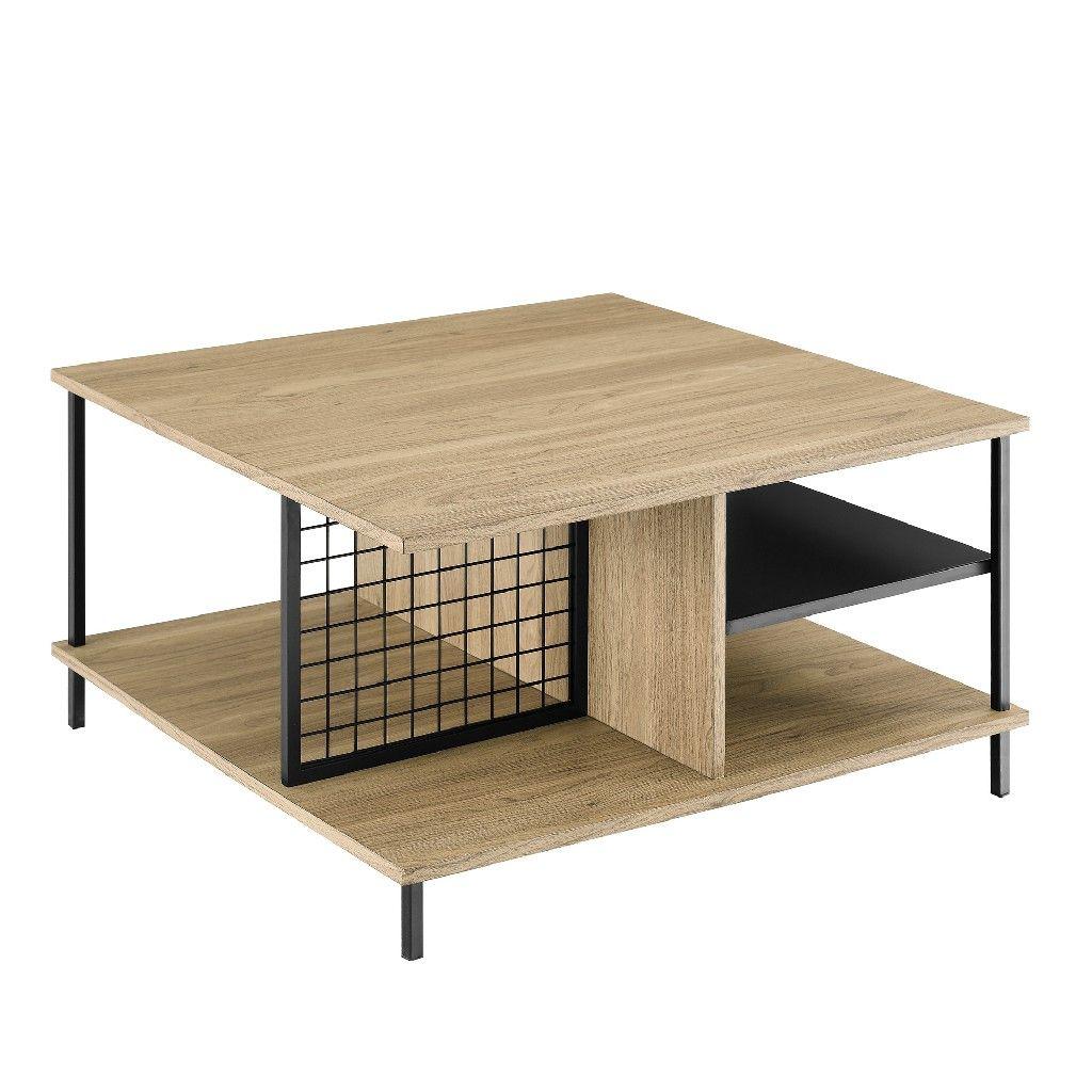 30 Metal Wood Square Coffee Table In English Oak Walker Edison Af30zancteo