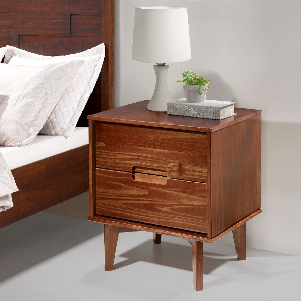 Mid Century Modern Wood Nightstand In Walnut Walker Edison Br2dslnswt