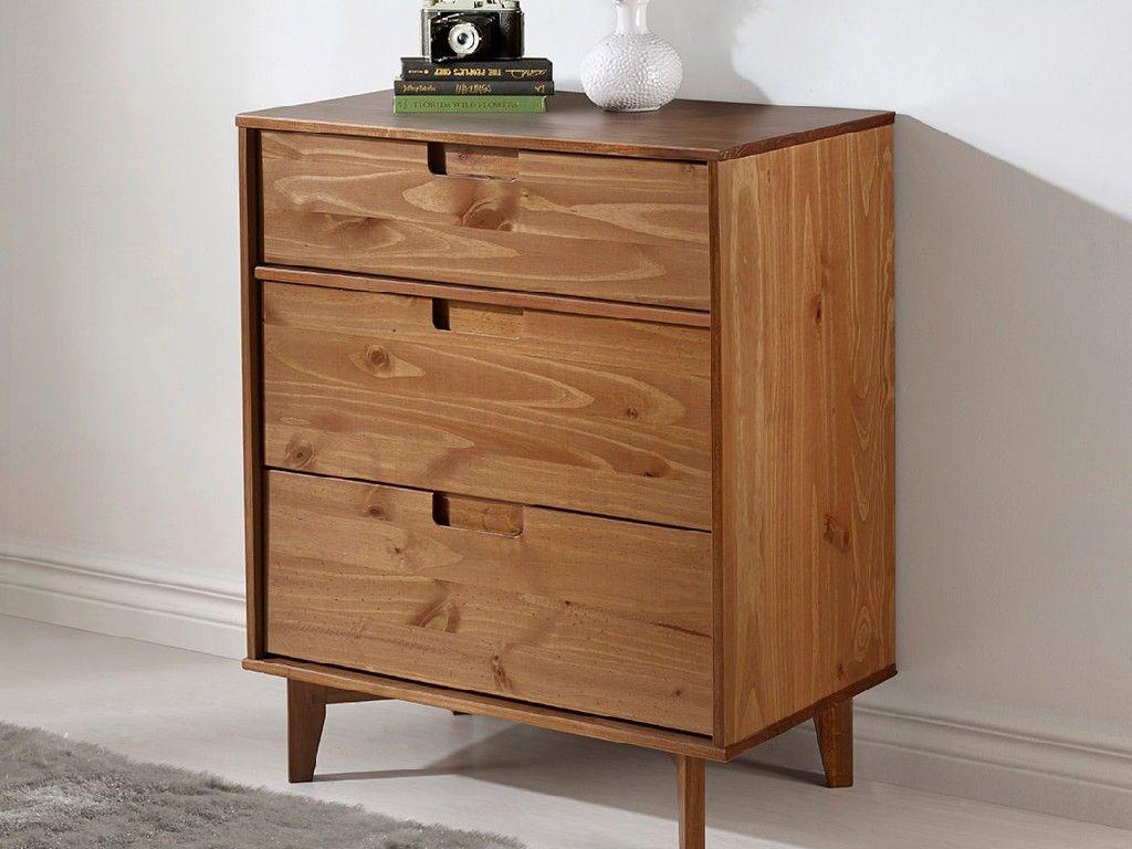 3 Drawer Mid Century Modern Wood Dresser In Caramel Walker Edison Br3dsldrca