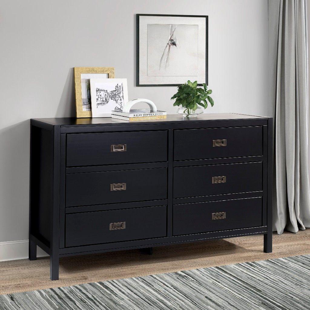 "17"" Classic Solid Wood 17-Drawer Dresser in Black - Walker Edison BR17DLYDDRBL"