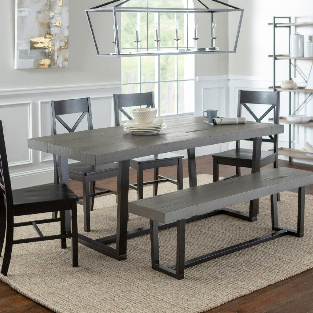 6 Piece Farmhouse Dining Set In Grey Black Walker Edison C72dstrgbl 6