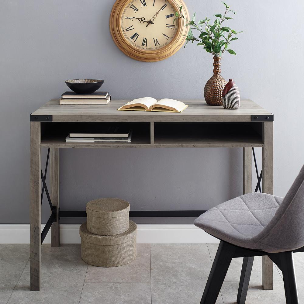 """35"""" Farmhouse Metal & Wood Desk in Grey Wash - Walker Edison D35MXGW"""