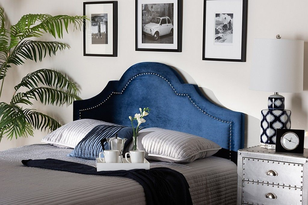 Baxton Studio Rita Modern Contemporary Navy Blue Velvet Fabric Upholstered Full Size Headboard Bbt6567 Navy Blue Hb Full