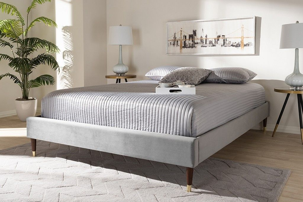 Picture of: Baxton Studio Volden Glam Luxe Charcoal Velvet Fabric Upholstered Full Size Wood Platform Bed Frame W Gold Tone Leg Tips Bbt6598a1 Dark Grey Full