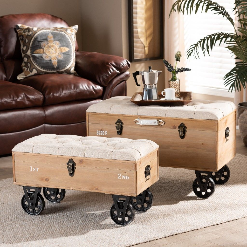 Baxton Studio Finlay Transitional Rustic Farmhouse Beige Fabric Upholstered Distressed Natural Wood Black Metal 2 Piece Wheeled Storage Ottoman Set Wholesale Interiors Jy19a419 Beige Natural 2pc Otto Set