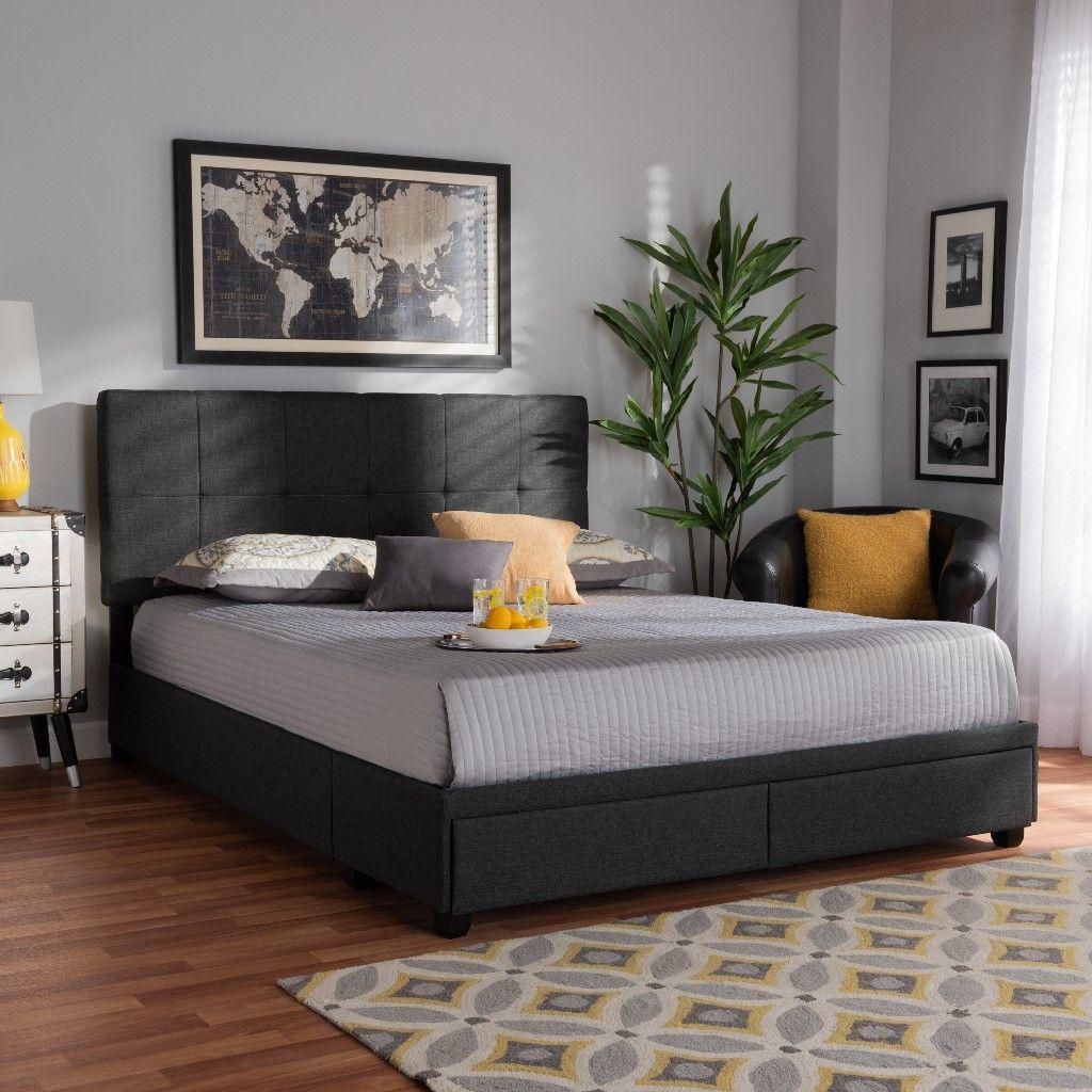 Baxton Studio Netti Dark Grey Fabric Upholstered 2 Drawer King Size Platform Storage Bed Wholesale Interiors Netti Charcoal Grey King