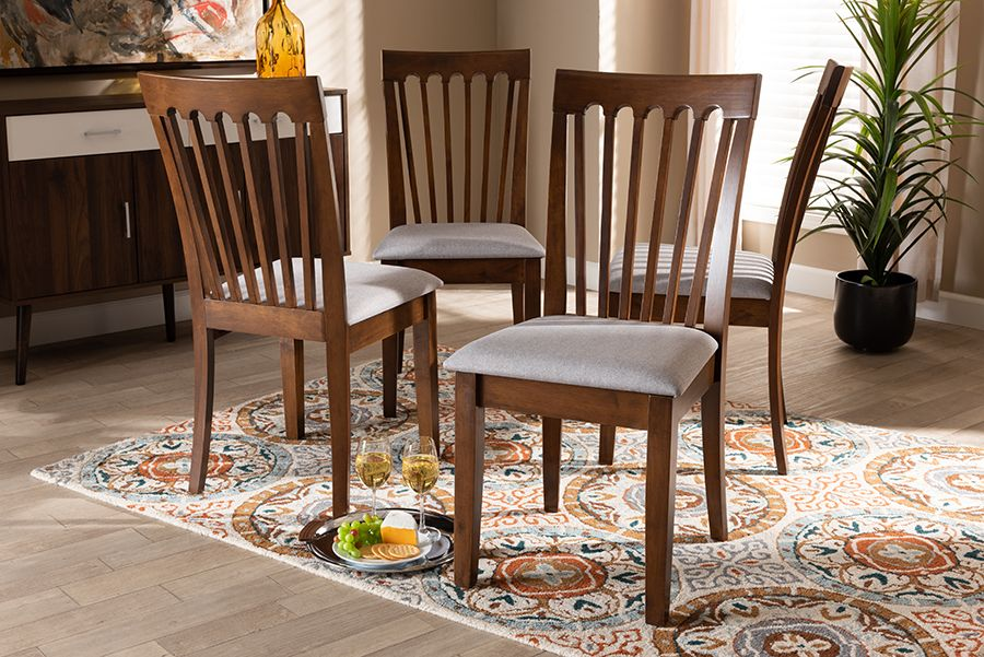 Baxton Studio Minette Modern And Contemporary Grey Fabric Upholstered Walnut Brown Finished Wood Dining Chair Set Wholesale Interiors Rh319c Grey Walnut Dc 4pk