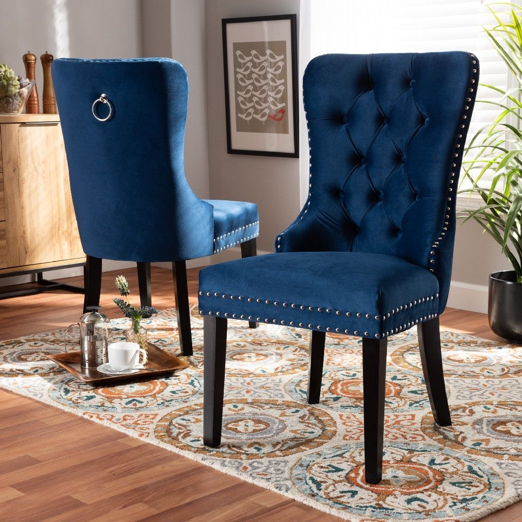 Picture of: Baxton Studio Remy Modern Transitional Navy Blue Velvet Fabric Upholstered Espresso Finished 2 Piece Wood Dining Chair Set Set Wholesale Interiors Ws F458 Navy Blue Velvet Espresso Dc
