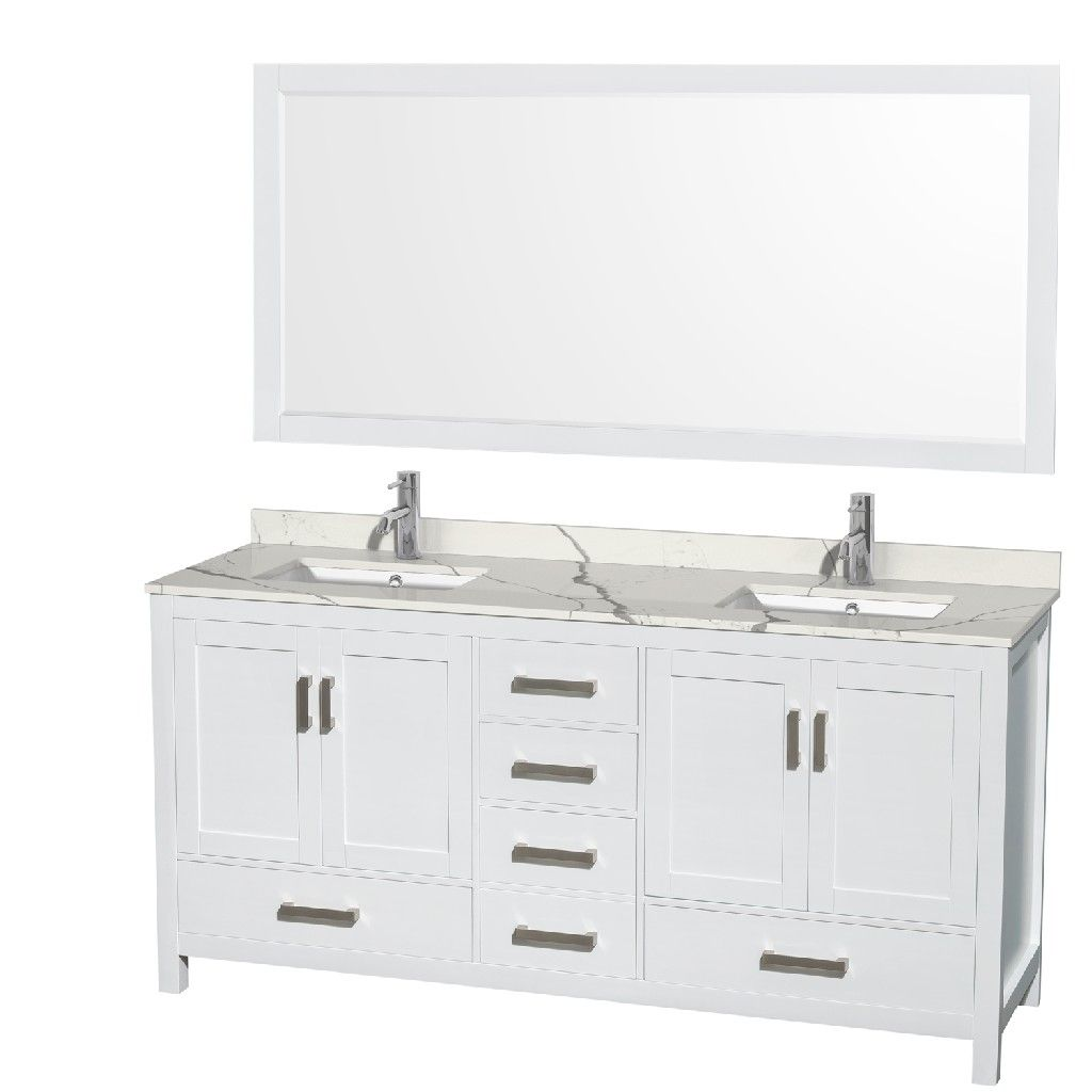 72 Inch Double Bathroom Vanity In White Calacatta Quartz Countertop Undermount Square Sinks 70 Inch Mirror Wyndham Wcs141472dwhcqunsm70