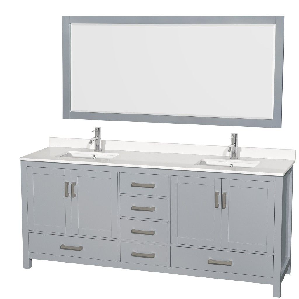 80 Inch Double Bathroom Vanity In Gray White Quartz Countertop Undermount Square Sinks 70 Inch Mirror Wyndham Wcs141480dgywqunsm70