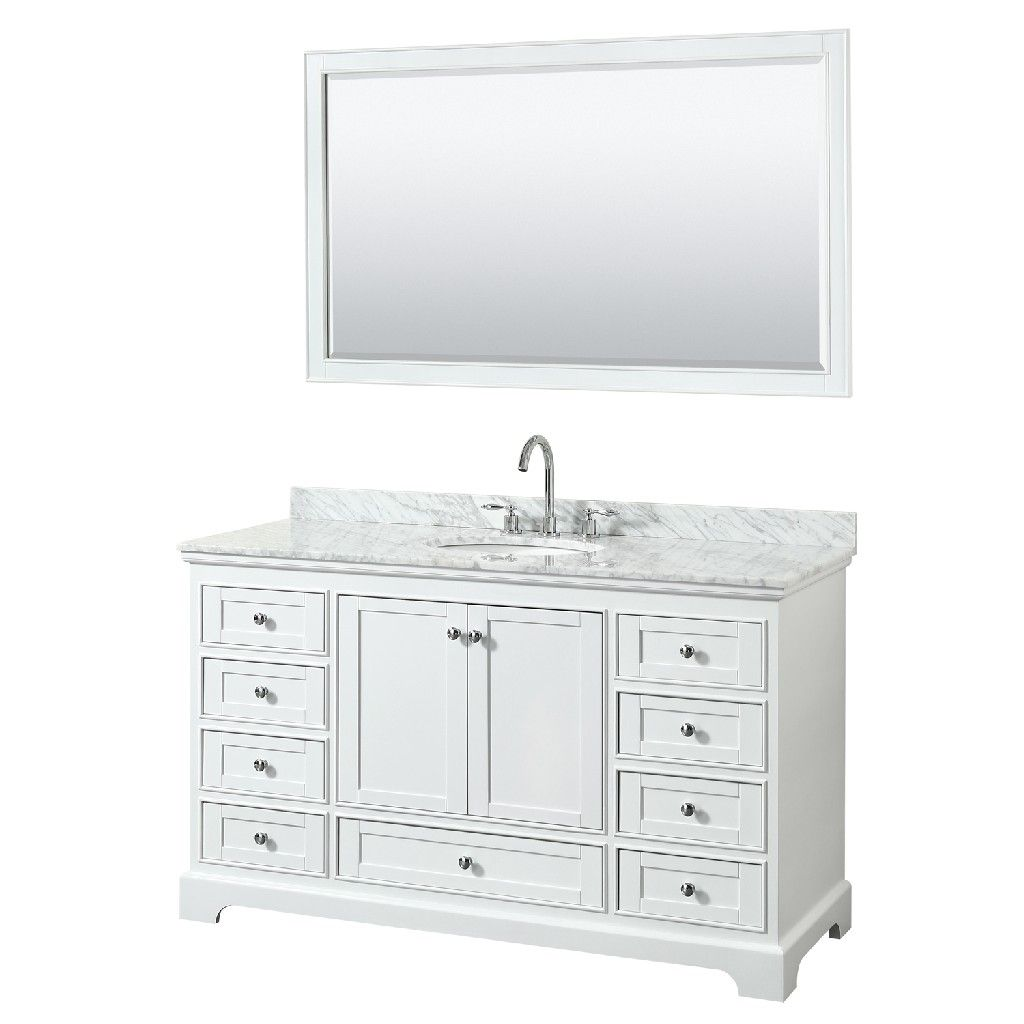 60 Inch Single Bathroom Vanity In White