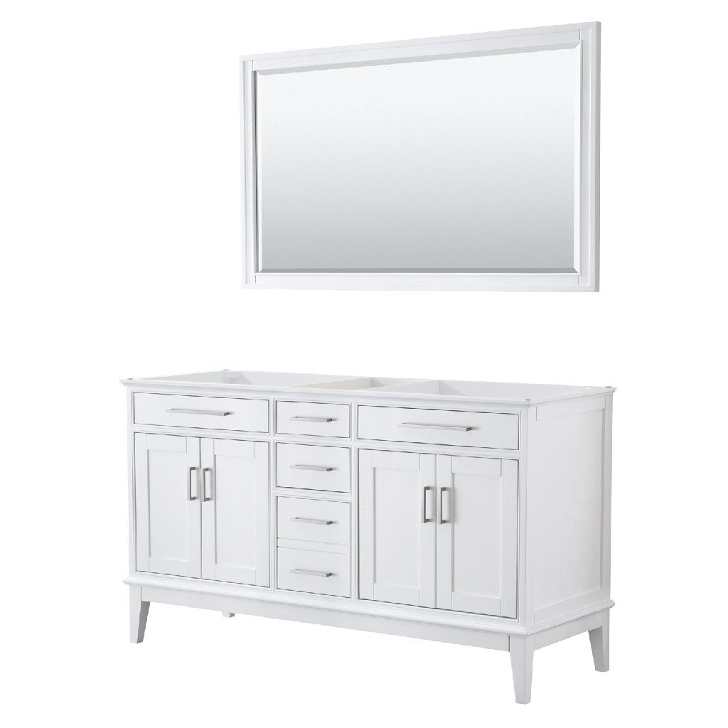 60 Inch Double Bathroom Vanity In White No Countertop No Sink And 56 Inch Mirror Wyndham Wcv303060dwhcxsxxm56