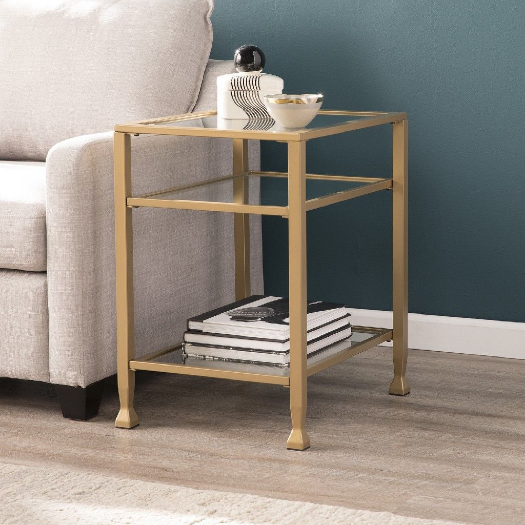 Picture of: Jaymes Gold Metal And Glass End Table Southern Enterprises Ck5772
