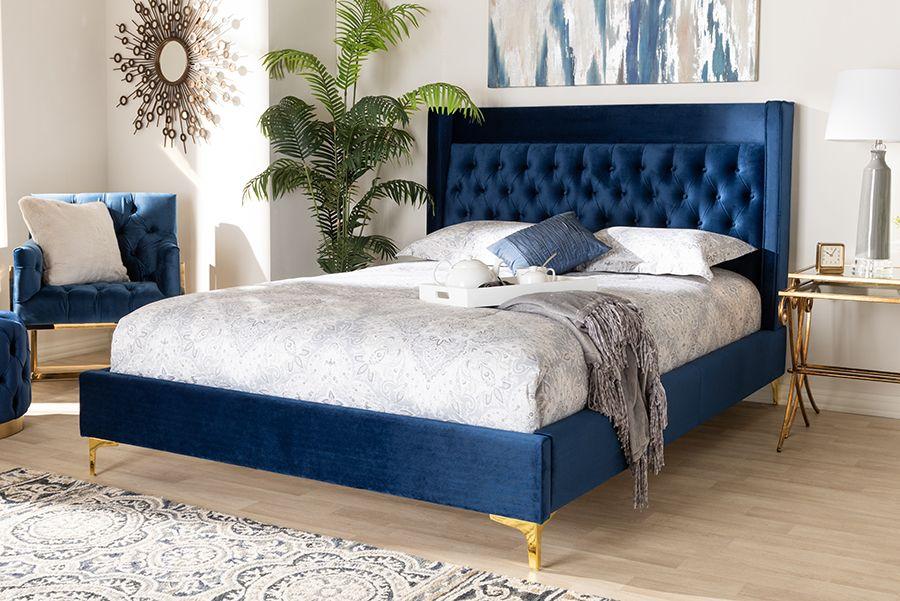 Baxton Studio Valery Modern Navy Blue, Blue Velvet Queen Bed With Storage