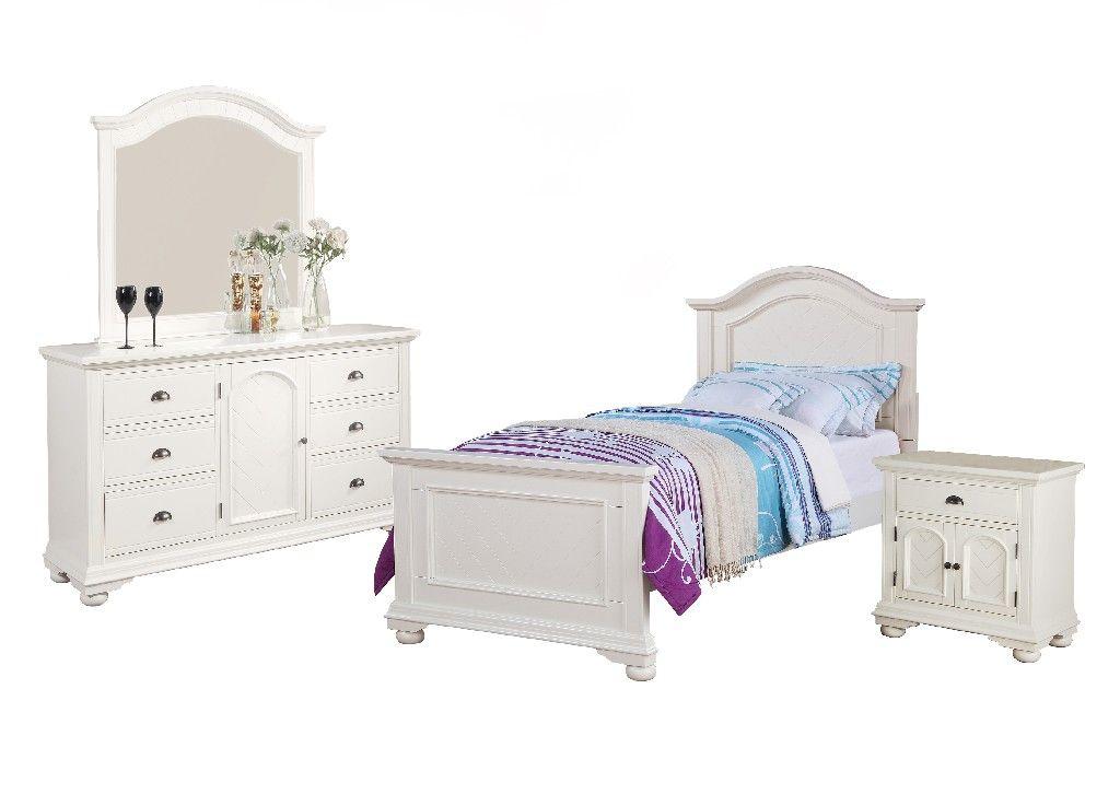 Addison White Twin Panel 4pc Bedroom Set Picket House Furnishings Bp700tb4pc