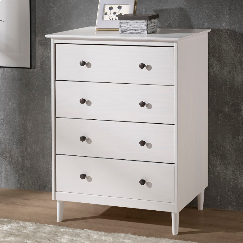 4 Drawer Solid Wood Dresser In White