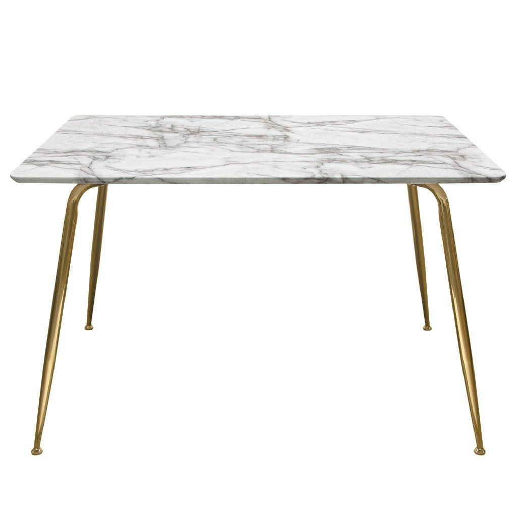 Chance Faux Marble Top Rectangular Dining Table W Brushed Gold Metal Legs Diamond Sofa Chancedtmagd