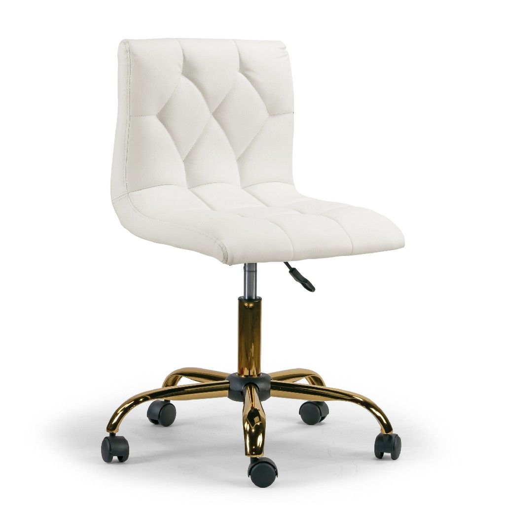 Aman Cream Upholstered Adjustable Height Swivel Office Chair W Golden Frame Wheel Base Glamour Home Ghtsc 1285