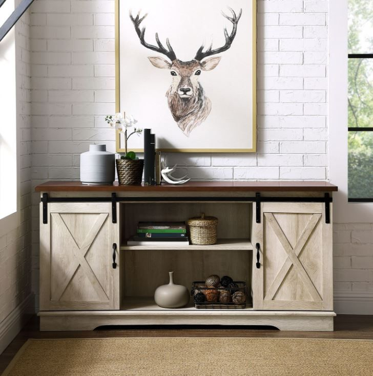 58 Modern Farmhouse Sliding Barn Door Tv Stand Media Console Entertainment Center In White Oak Walker Edison W58sbdwo