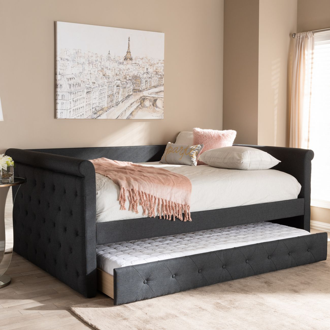 Picture of: Baxton Studio Alena Modern Contemporary Dark Grey Fabric Upholstered Queen Size Daybed W Trundle Cf8825 Dark Grey Daybed Q T