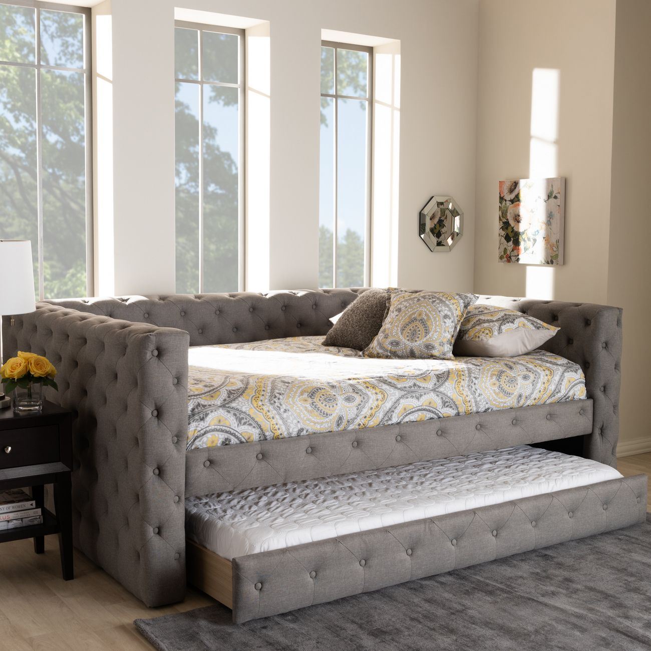 Baxton Studio Anabella Modern Contemporary Grey Fabric Upholstered Full Size Daybed W Trundle Cf8987 Grey Daybed F T