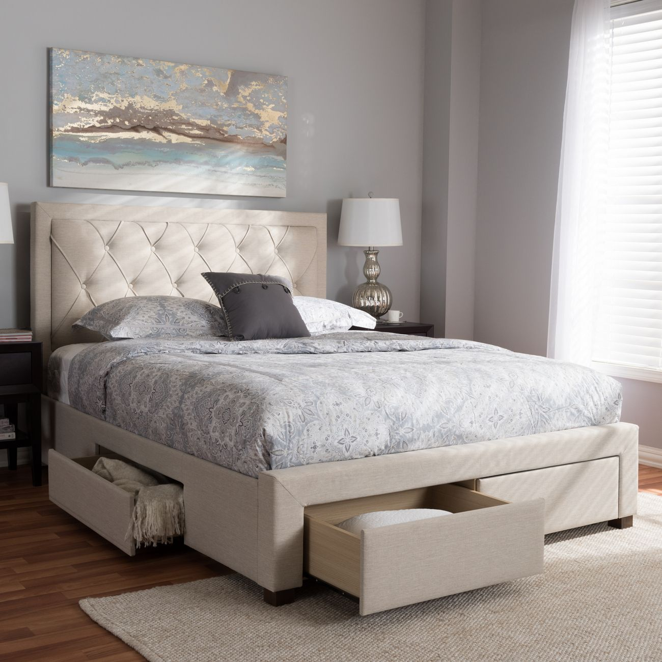 Baxton Studio Aurelie Modern Contemporary Light Beige Fabric Upholstered Queen Size Storage Bed Cf8622 D Light Beige Queen