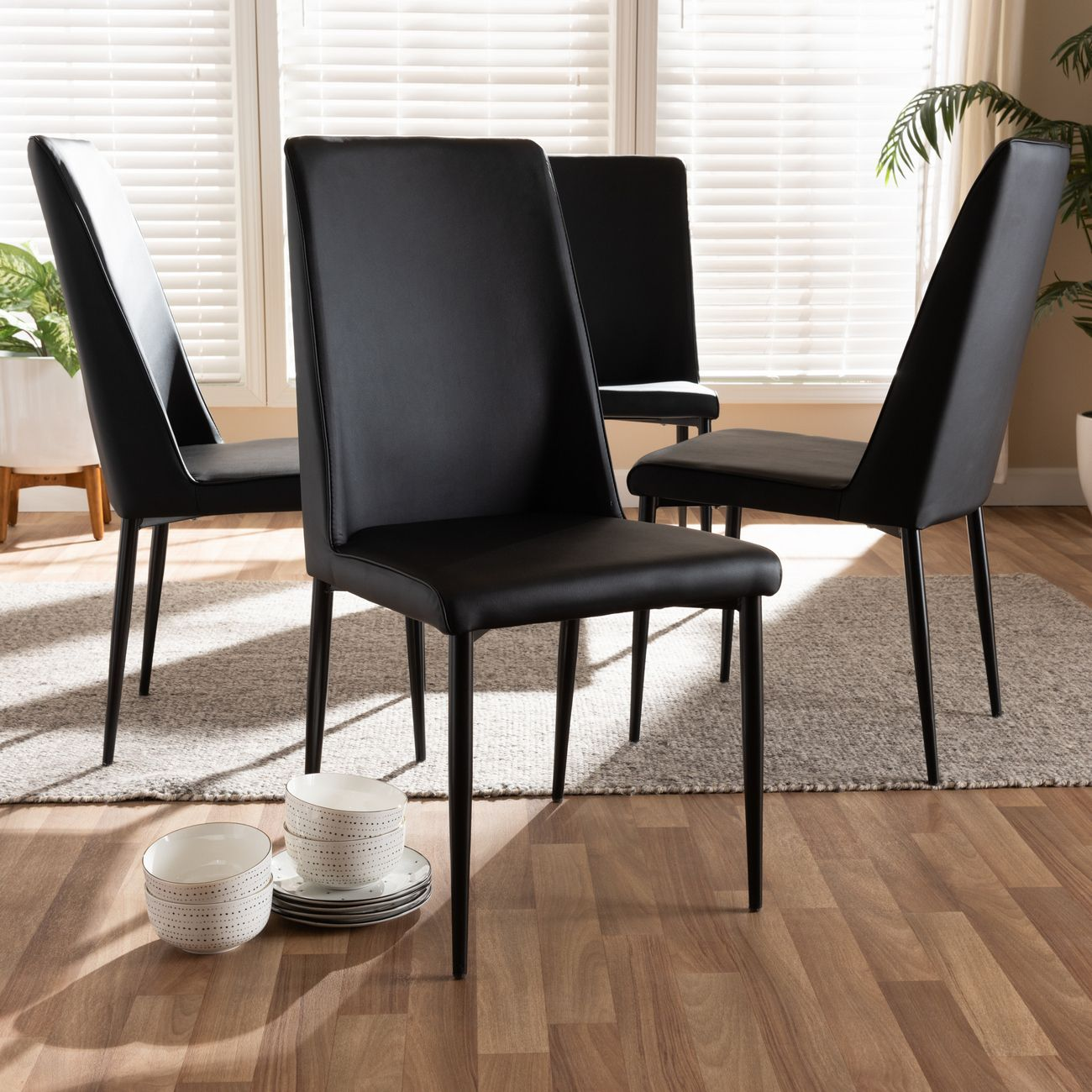 Baxton Studio Chandelle Modern Contemporary Black Faux Leather Upholstered Dining Chair Set Of 4 160505 Black