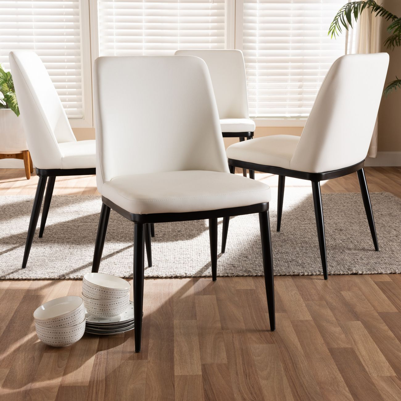 Picture of: Baxton Studio Darcell Modern Contemporary White Faux Leather Upholstered Dining Chair Set Of 4 150595 White