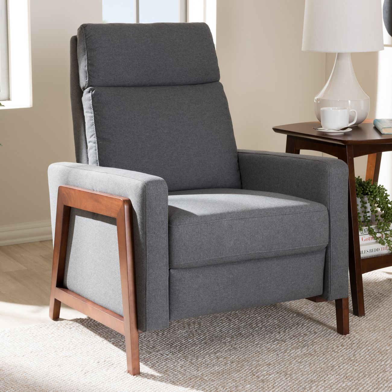 Picture of: Baxton Studio Halstein Mid Century Modern Grey Fabric Upholstered Lounge Chair 1706 Gray