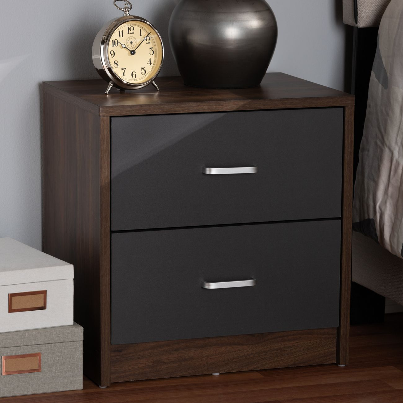 Baxton Studio Hansel Modern Contemporary 2 Drawer Dark Brown Dark Grey Finished Nightstand Sent014 Columbia Brown Dark Grey Ns