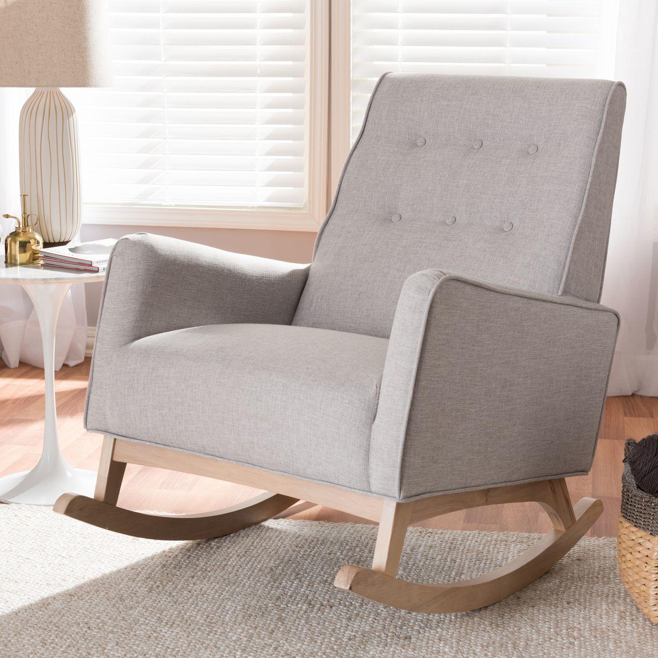 Baxton Studio Marlena Mid Century Modern Greyish Beige Fabric Upholstered Whitewash Wood Rocking Chair Bbt5308 Greyish Beige Rc