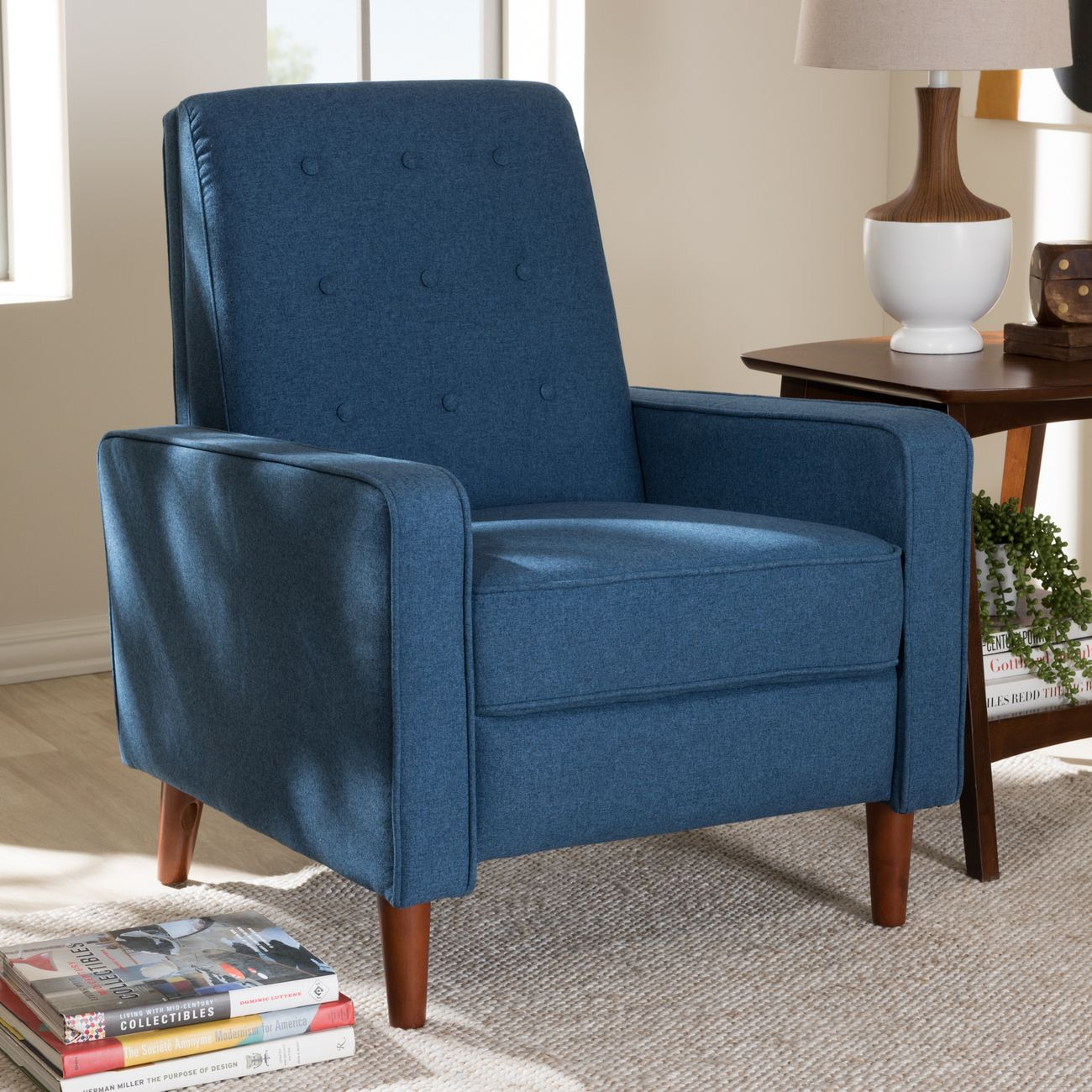 Picture of: Baxton Studio Mathias Mid Century Modern Blue Fabric Upholstered Lounge Chair 1705 Blue