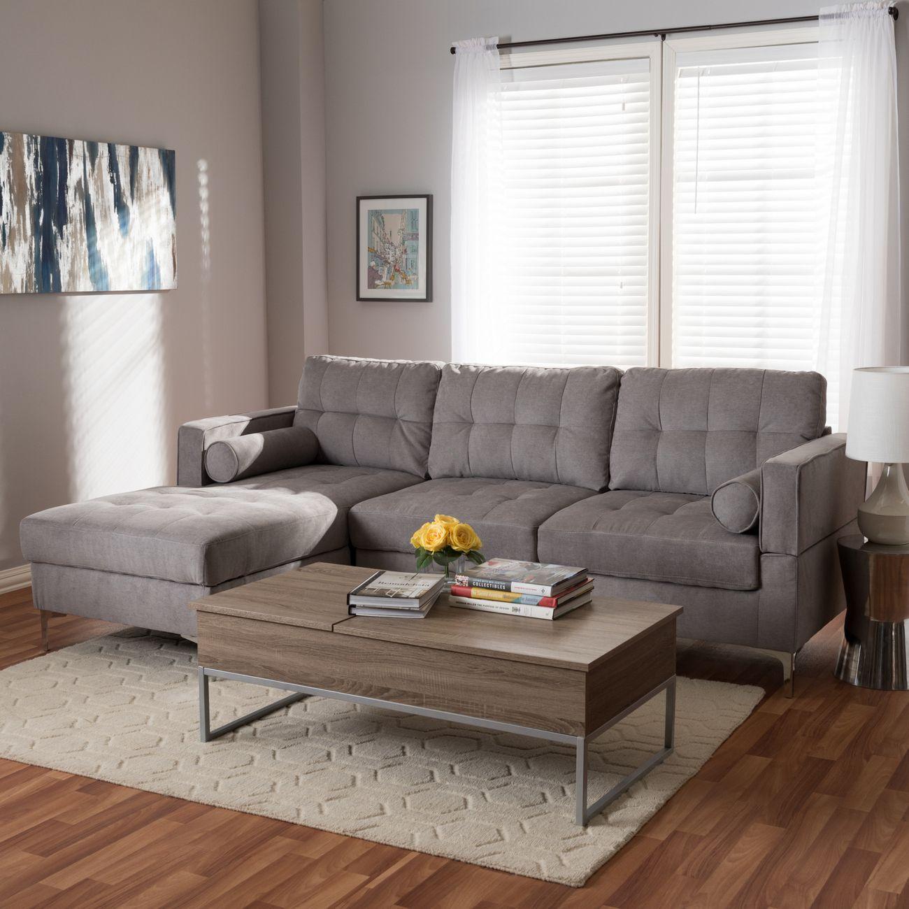 Baxton Studio Mireille Modern Contemporary Light Grey Fabric Upholstered Sectional Sofa R7860 Light Gray Lfc
