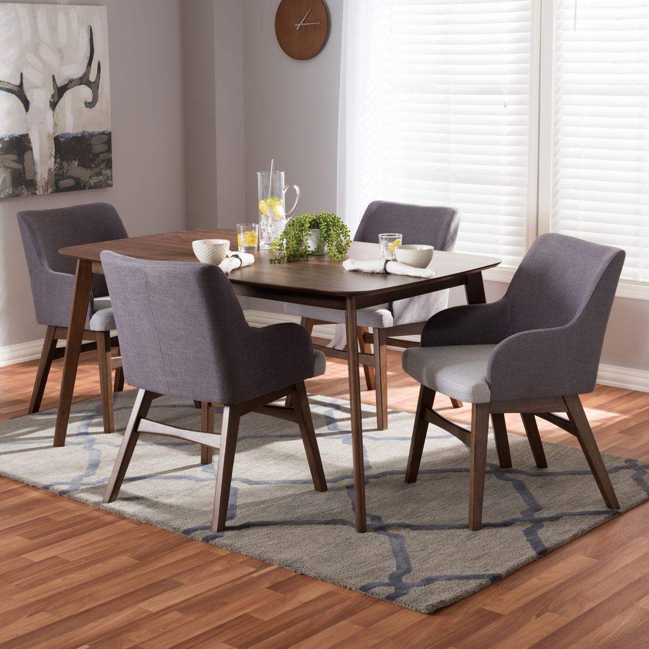 Baxton Studio Monte Mid Century Modern Walnut Wood Rectangular 5 Piece Dining Set Monte Dark Grey 5pc Dining Set
